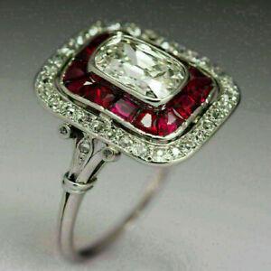 2Ct Emerald Cut VVS1 Diamond & Ruby Art Deco Engagement Ring 14K White Gold Over