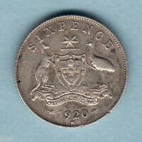 Australia.  1920 Sixpence.. Full Centre Diamond.. Trace Lustre..  VF