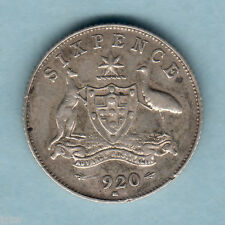 Australia.  1920 Sixpence.. Full Centre Diamond.. Trace Lustre..  VF