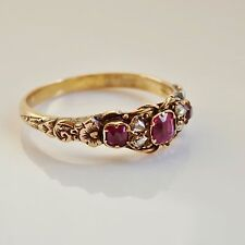 Stunning Antique Georgian Gold Foiled Ruby & Diamond Ring c1800; UK Size 'M 1/2'