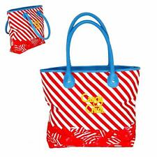Candy Crush Red Striped Handbag Tote Bag Carryall Blue Accent Dual Handles
