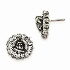 Ladies Silver Tone White Crystal Rose Post Earrings 1928 Boutique