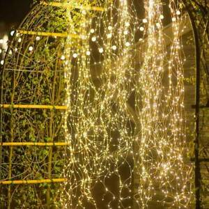 100/200 LED Waterfall String Fairy Lights Copper Wire Solar Outdoor Lamps  Nice