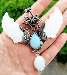 Opal stone White Shell Angel Pendant Prism Magic Amulet