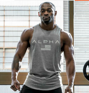 New men cotton sleeveless shirts tank top Fitness Bodybuilding workout gym vest