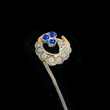 Edwardian 18ct/18k,750 Gold Sapphire & Pearl crescent stick,tie,cravat,lapel pin