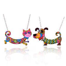 Lovely Dog Cat Acrylic Pendant Necklace Colorful Animal Printing Choker Jewelry