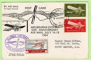 50th Anniversary Airmail Melbourne-Sydney 1964 Signed Card