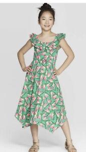 Cat & Jack Butterfly Ruffle Dress Size 10/12 Asymmetric