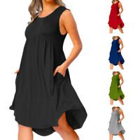 Plus Size Women's Solid O-Neck Loose Sleeveless Pleated Mid-Length Beach Dress