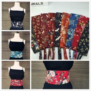 Japanese Obi Belt Elegant Flower Printed Yukata Sash Tie Waistband Wide Corset