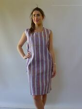 Vintage retro 60s 18 - 20 XXL unused cotton shift mod dress NOS purple stripes