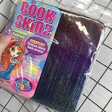 Vintage Lisa Frank Book Skinz - Rainbow Holographic Colorful Stretchy Book Cover