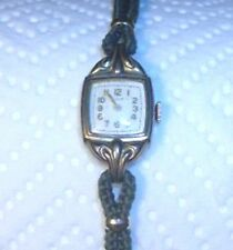 Art Deco Elgin 15 Jewel Movement 10k Gold Filled Case Ladies Wrist Watch WORKS