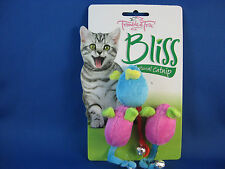 Cat Toy - Bliss Soft Mice with Bell on Tail & Natural Catnip - 1 Blue & 2 Pink