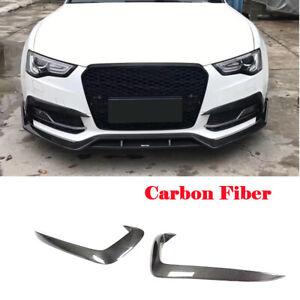 For Audi A5 Sline S5 12-16 Fog Light Lamp Canards Splitter Fins Cover Carbon 2X