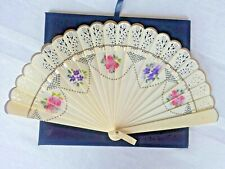 Vintage Hand Painted Floral With Lace Folding Fan Plastic