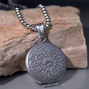 Gunmetal grey keepsake openable pendant silver stainless steel prayer necklace