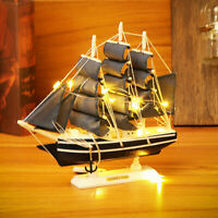 Handmade Nautical Ship Model Schooner Boat Wooden Sailing Ocean+10LED Light Gift