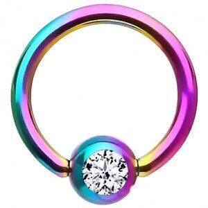 "Captive Lip Ear Daith Ring 16 Gauge 3/8"" Titanium IP Rainbow w/Clear 3mm Gem Bod"
