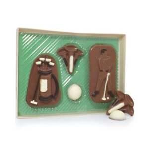 Milk Chocolate Novelty Golf Set Bag Balls Tees Clubs Gift Box Caddie 4 Pieces