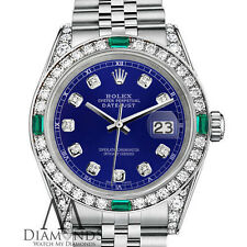 Ladies Rolex Datejust 36mm Steel Blue Emerald Diamond Dial Watch With A track