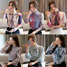 Career Women Chiffon Long Sleeve Slim Button Down Business Work Shirt Top Blouse