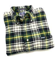 Facconable Flannel Shirt Mens Size 2XL XXL Green Plaid Button Down Long Sleeve