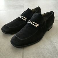 MORESCHI for RUSSELL & BROMLEY Black Suede Leather Loafers UK Size 9 Slip On