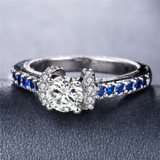 Fashion Women 925 Silver Ring Round Cut White Sapphire Wedding Ring Size 9