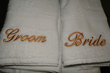 Bride and Groom embroidered towel wedding gift set - add dates for FREE