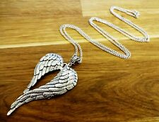 """Guardian angel wings silver plated chain necklace XL pendant 16"""" to 40"""" long"""