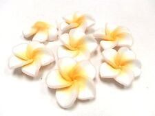 10 Fimo Polymer Clay Plumeria Flower Fimo Beads 30mm White Yellow