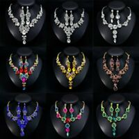 Fashion Wedding Bridal Party Crystal Rhinestone Necklace Earrings Jewelry Set