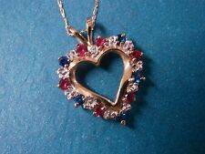 Heart Pendant Necklace Simulated Ruby & Sapphire 10k Yellow Gold 18 inch