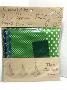 """Vintage Sealed 1974 """"Yours Truly"""" Ornament 3 X-Mas Tree Fabric Sewing Craft Kit"""