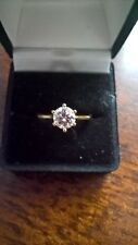 Stunning Gold Plated 7mm Handcut CZ Solitaire 2.20 ct Ring  - Sizes N,R1/2 & T