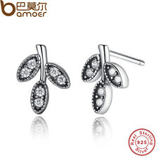 Retro Authentic S925 Sterling Silver Sparkling Leaves Stud Earrings  Clear CZ oh
