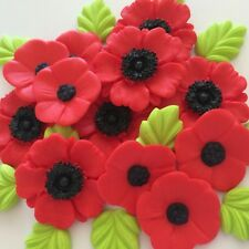 RED POPPY BOUQUET Edible Sugar Paste Flowers Cup Cake Decorations Toppers