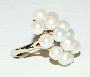 Chinese 14k Yellow Gold Ring Sz. 6 set w. 14x Pearl Cluster by Ming's (BrM)#11