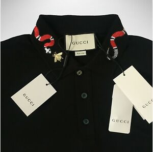 Gucci Black Polo Shirt With Snake Embroidery on Collar T-shirt Size S