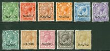 SG 1-11 Nauru 1916. ½d to 1/-. Lightly mounted/unmounted mint set of 11 CAT £85