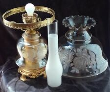 Hollywood Regency GWTW Large Double Globe Luster Glass Parlor Lamp