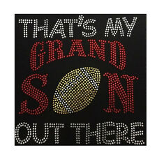 Football Thats My Grandson Out There Bling Fashion Ladies Rhinestone T-shirts