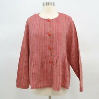 Flax Blouse Shirt Jacket Womens 100% Linen Red Striped S Lagenlook Engelhart