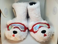 New Nwt Cat & Jack Polar Bear Boot Bootie Slippers Youth Size Medium 2/3