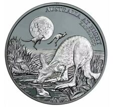 2019 KANGAROO  AT NIGHT 1oz 999 Silver Black Proof Coin Ltd Edition Of 1,000
