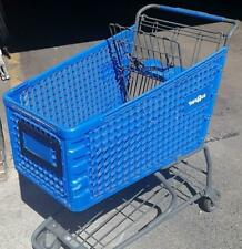 Shopping Carts Blue Plastic Basket Lot 8 Used Store Fixtures Full Size Buggies