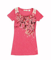 NWT Miss Me Girls' Embellished Floral Top ~ Size Small - XLarge
