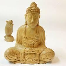 Meditating Seated Buddha, 20cm Natural Blonde Wood Carving Sculpture Figurine